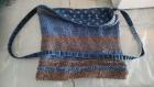 Tote bag en coton tricoté main doublure jean