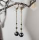 Boucles d'oreilles longues - chaînes fines et dormeuses bronze, perles d'hématite