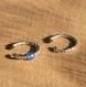 Deux anneaux d'oreille pour conque, à superposer - pour oreille non percée  - titane, petites perles argent et agates