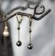 Boucles d'oreilles fines - dormeuses bronze, perles d'hématite à facettes