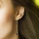 Boucles d'oreilles bloody mary - dormeuses bronze, chaînes fines et perles d'hématite