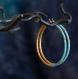 Créoles turquoise et or, en titane pur et perles de verre - boucles d'oreilles hypoallergéniques