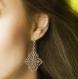 Boucles d'oreilles victoire - forme losange - estampes bronze ajourées et dormeuses