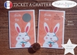 Ticket carte à gratter annonce grossesse originale : la famille va s'agrandir modèle lapin tickets collection félicitation