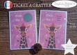 Ticket carte à gratter annonce grossesse originale bébé : tu vas être tata modèle girafe tickets collection félicitation