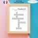 Affiche personnalisée scrabble de votre famille avec prénoms imprimée sur format a4 coloris noir et blanc