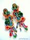 Boucles d'oreilles multicolores en soutache