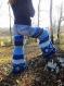 Pantalon d'hiver à patte d'éléphant en jean, crochet et patchwork de laine recyclée en nuances de bleu!!!