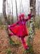 Manteau court d'hiver à double capuche pointue en patchwork de laine recyclée prune rose et rouge!!!