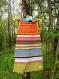 Robe enfant à capuche pointue en patchwork de coton et strech recyclés aux rayures multicolores!!!