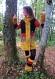 Veste mi-longue d'hiver de style mongol en patchwork de laine, jersey vintage et fausse fourrure recyclés jaune, marron et orange!!!