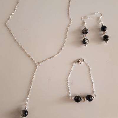 Parrure complète collier, boucles d'oreilles et bracelet