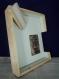 Cadre photo decoratif contemporain original, chassis entoilé toile peinte à la main, travail du bois fait main, décoration murale, réalisé sur commande