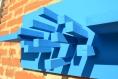 Décoration murale 3d en bois, découpée et peinte à la main, de forme rectangulaire symbolisant la skyline d'une ville avec ses gratte-ciels. objet de décoration contemporain et original.
