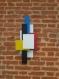 Décoration murale 3d en bois, composition de pèces rectangulaires en medium peintes à la main, objet de décoration contemporain et original