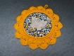 Cadre décoration enfant au crochet, jaune, papillon