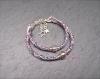 Duo de bracelets mère/fille en cordon de liberty bleu/violet et perle coeur