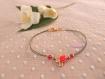Bracelet grigri cactus, lurex fin kaki et perles cristal rose