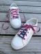 Lacets de chaussures en tissu wax rose et bleu