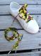Lacets de chaussures en tissu wax jaune et rose