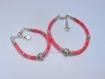 Duo de bracelets mère/fille en cordon liberty glenjade rose fleuri et perle coeur