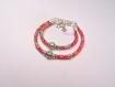 Duo de bracelets mère/fille en cordon liberty kayoko rouge et perle coeur
