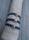 Bracelet enfant emoji clin d'oeil bisou en plaqué argent et cordons jeans