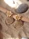 Boucles d'oreille grand ananas doré