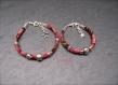 Duo de bracelets mère/fille en cordon de liberty rose/prune et perle coeur