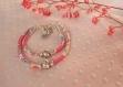 Duo de bracelets mère/fille en cordon liberty rose/lilas et perle coeur