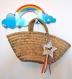 Porte-clés / bijou de sac etoile et licorne