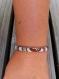 Bracelet en cuir et tissu wax turquoise et marron