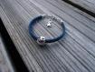 Bracelet enfant emoji lunettes noires en plaqué argent et cordons jeans