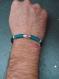 Bracelet homme en cuir et fil de jade couleur beige