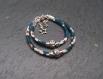 Duo de bracelets mère/fille en cordon liberty mitsi bleu fleuri et perle coeur