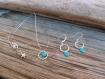 Ensemble parure boucles d'oreille & collier pour enfant, cercles bleu ciel