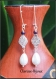Boucles d'oreilles intercalaires en métal argenté et perles verre nacrés 9x66mm
