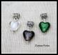 3 pendentifs breloque coeur en verre de murano blanc, noir, vert 15x30mm