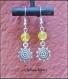 Boucles d'oreilles verre craquelée jaune et breloque soleil argenté 14x48mm