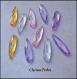 20 perles breloque gouttes acryliques à facettes plates multicolores 8x38mm trou 1,5mm