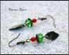 Pendientes hoja bronce y cristal facetado verde perlas rojo 9x48mm