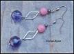 Pendientes acero inoxidable rombo plateado y perlas cristal facetado rosa y violeta 12x68mm