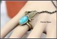 Pulsera encaje estilo gótico mariposa azul y anillo bronce 15cm +extensión 9cm ajustable