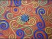 Tissu coton motif spirale en couleur orange 60x50cm coton 100%