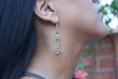 Boucles d'oreilles pierre naturelle vert jaune et danseur argenté