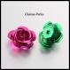 20 fleurs roses aluminium multicolore 17mm trou 1mm
