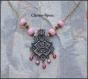 Collier pendentif style romantique perles naturelles tone rose 30x52mm 45cm chaine cuivre