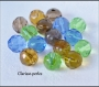 10 perles verre à facettes multicolore 12x12mm trou 2mm