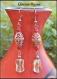 Boucles d'oreilles ethnique cuivre et perles verre vert rouge 10x68mm