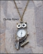 Pendentif collier hibou horloge chaine bronze 30x56mm 82cm